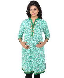 MomToBe Three Fourth Sleeves Maternity Kurti Allover Print - Green