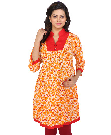 MomToBe Three Fourth Sleeves Maternity Kurti Floral Print - Red
