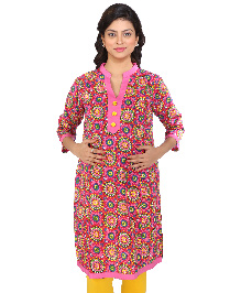 MomToBe Three Fourth Sleeves Maternity Kurti Flower Print - Pink