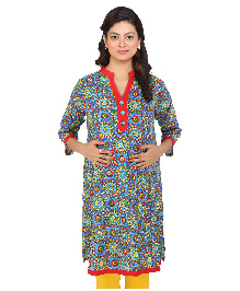 MomToBe Three Fourth Sleeves Maternity Kurti Flower Print - Red & Blue