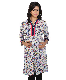 MomToBe Three Fourth Sleeves Maternity Kurti Floral Print - Blue & Cream