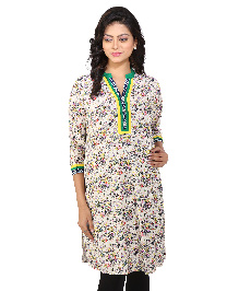 MomToBe Three Fourth Sleeves Maternity Kurti Floral Print - Green & Cream