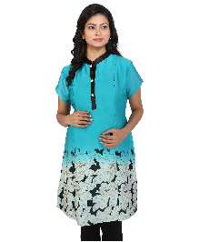 MomToBe Short Sleeves Maternity Kurti Floral Print - Blue & Black