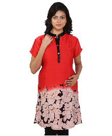 MomToBe Short Sleeves Maternity Kurti Floral Print - Red & Black