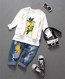 Mauve Collection T-Shirt Denims & Tropical Print Jacket - White & Blue