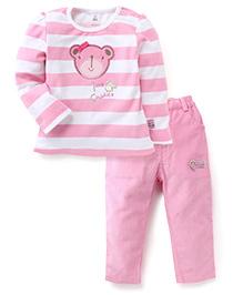ToffyHouse Full Sleeves T-Shirt & Pants Love Cuddles Print - Pink