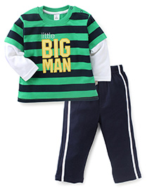 ToffyHouse Full Sleeves T-Shirt & Track Pant Big Man Embroidery - Green
