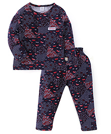 ToffyHouse Full Sleeves Night Suit Boat Print - Navy