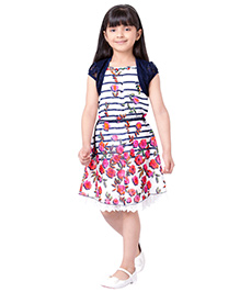 Tiny Baby Lower Print Knee Length Dress With Lace Short Jacket - Blue