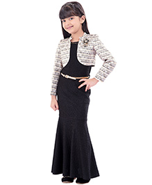 Tiny Baby Mermaid Cut Gown With Jacket & Belt - Black