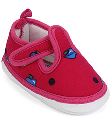 Little's Musical Booties With Velcro Closure Apple And Dots Print - Dark Pink