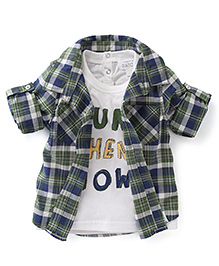 Pumpkin Patch Shirt With T-Shirt Set Checks Print - Green White