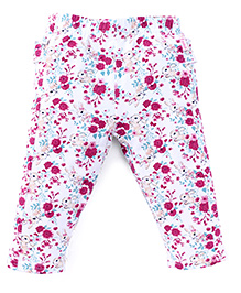 Pumpkin Patch Leggings Flower And Bunny Print - White