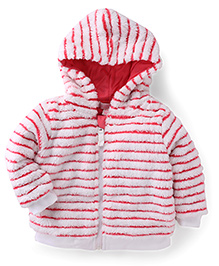 Pumpkin Patch Hooded Striped Jacket - White And Pink