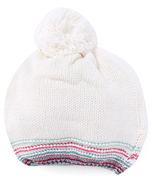 Pumpkin Patch Winter Wear Cap With Pompom - White