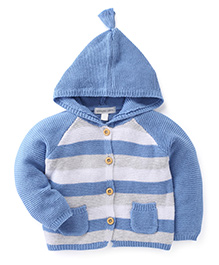 Pumpkin Patch Full Sleeves Hooded Sweater - Blue White