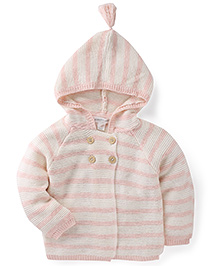Pumpkin Patch Hooded Striped Cardigan - Pink And Cream