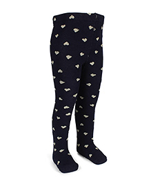 Pumpkin Patch Footed Tights Hearts Print - Black