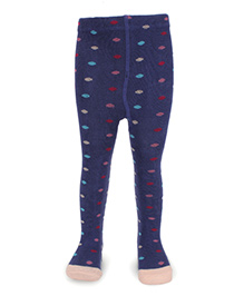 Pumpkin Patch Printed Footed Tights - Blue