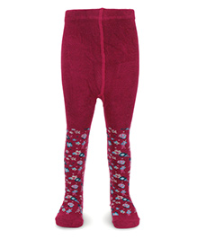 Pumpkin Patch Footed Tights Floral Print - Plum