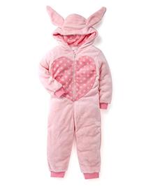 Pumpkin Patch Full Sleeves Hooded Romper Heart Print - Pink