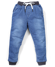 Palm Tree Full Length Elasticated Jeans With Drawstring - Blue