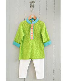 Frangipani Kids Boys Kurta & Pyjama Set - Green & White