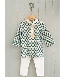 Frangipani Kids Boys Lotus Print Kurta & Pyjama Set - Green & White