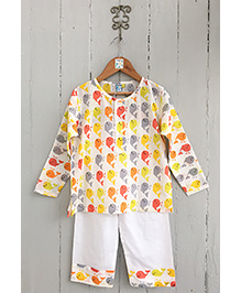 Frangipani Kids Fish Print Full Sleeves Nightwear Set - Multicolour
