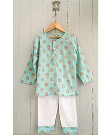 Frangipani Kids Porcupine Print Full Sleeves Nightwear Set - Sea Green & White