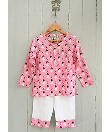 Frangipani Kids Girl Heart Print Full Sleeves Nightwear Set - Pink & White