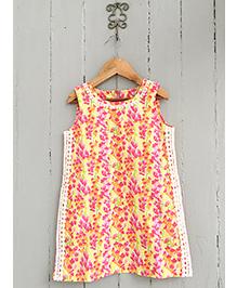 Frangipani Kids Wild Flower Print Dress - Multicolour