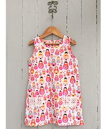 Frangipani Kids Dancing Doll Print Dress - White & Pink