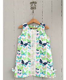 Frangipani Kids Butterfly Print Dress - White