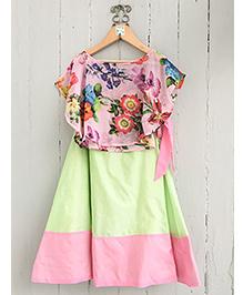 Frangipani Kids Flower & Leaf Print Blouse With Skirt Set - Pink & Green