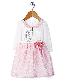 Peppermint Full Sleeves Party Frock Flower Applique - White Pink