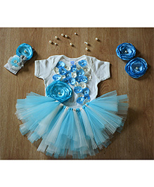 TU Ti TU Little Diva Birthday Tutu Outfit - Blue & White
