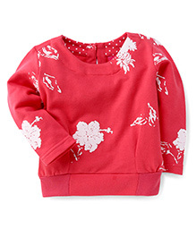 Button Noses Full Sleeves Winter Wear Top Floral Print - Red