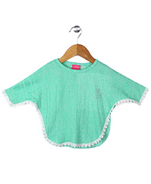 Button Noses Full Sleeves Poncho - Green