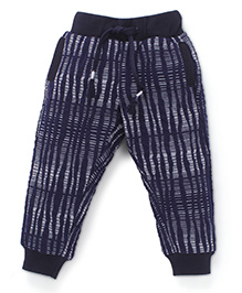 Button Noses Full Length Track Pant Stripes Pattern - Navy