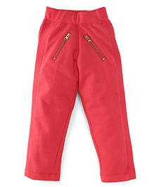 Button Noses Full Length Jeggings With Ealasticated Waist - Red