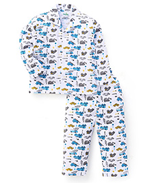 Babyhug Full Sleeves Night Suit Vehicle Print - White And Blue