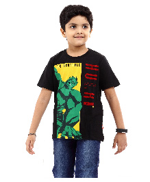 Marvel Half Sleeves T-Shirt Hulk Print - Black