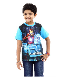 Marvel Half Sleeves T-Shirt Avengers Ironman Print - Blue