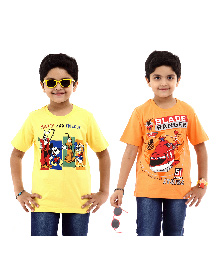 Disney Half Sleeves T-Shirt Pack of 2 Planes And Mickey And Friends Print - Yellow Orange