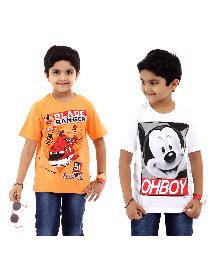 Disney Half Sleeves T-Shirt Pack of 2 Planes And Mickey Print - White Orange