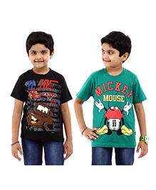 Disney Half Sleeves T-Shirt Pack of 2 Cars And Mickey Print - Green Black