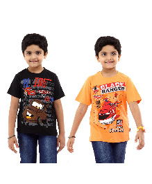Disney Half Sleeves T-Shirt Pack of 2 Cars And Planes Print - Black Orange