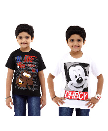 Disney Half Sleeves T-Shirt Pack of 2 Cars And Mickey Print - Black White
