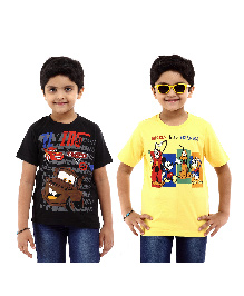 Disney Half Sleeves T-Shirt Pack of 2 Cars And Mickey & Friends Print - Yellow Black